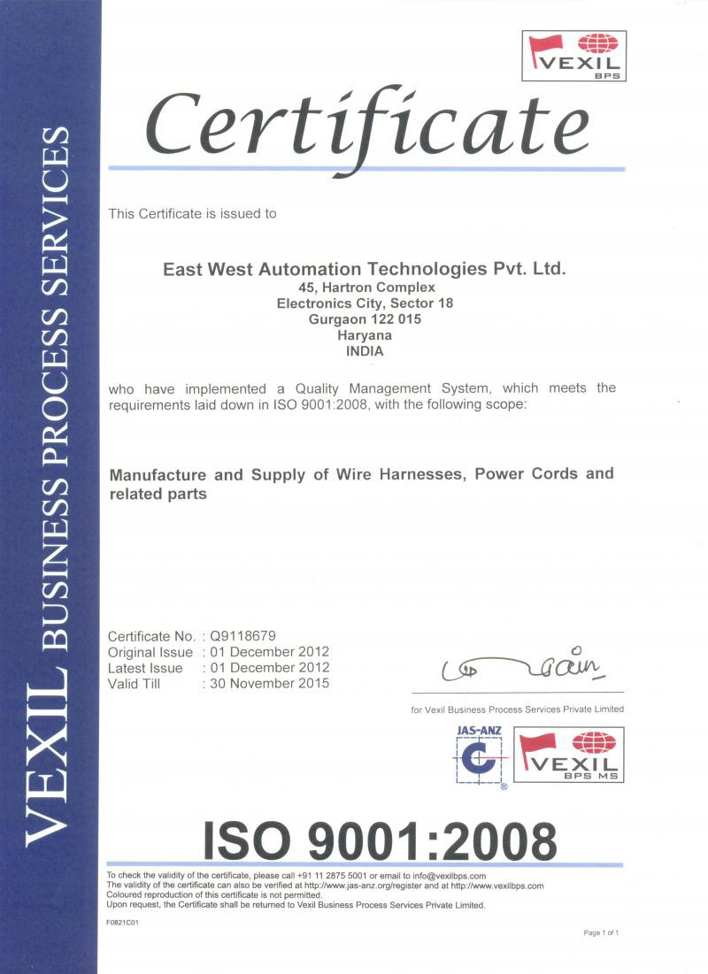 Company Profile East West Automation Tech Pvt Ltd On India Wiring Harness Manufacturers Iso Certification 9001 2008